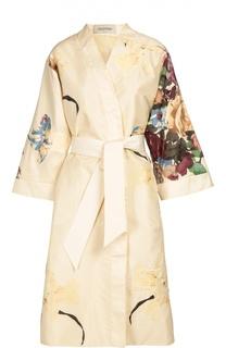 Платье-кимоно с цветочным принтом Valentino