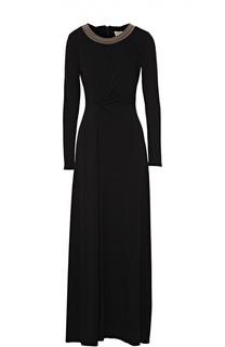 Платье в пол с высоким разрезом и длинным воротником Michael Michael Kors
