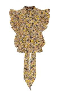 Топ с воротником аскот, рюшами и цветочным принтом Balenciaga