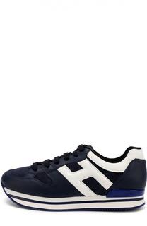 Кожаные кроссовки с замшевыми вставками Hogan