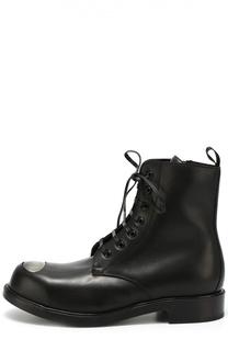 Кожаные ботинки с декоративной вставкой Alexander McQueen