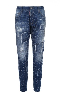 Зауженные джинсы с потертостями и заклепками Dsquared2