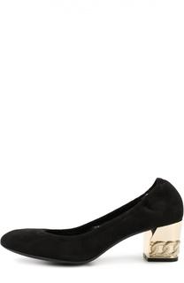 Замшевые туфли на устойчивом каблуке с декором Casadei