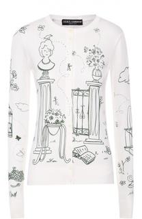 Шелковый кардиган на пуговицах с контрастным принтом Dolce & Gabbana
