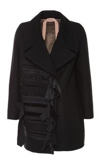 Пальто прямого кроя с декоративной отделкой No. 21