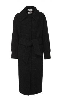 Пальто в клетку с широким поясом и отложным воротником Acne Studios