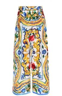Укороченные широкие брюки с ярким принтом Dolce & Gabbana