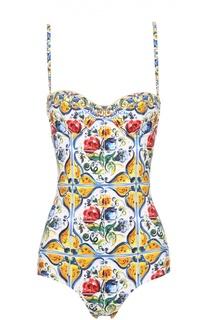 Слитный купальник с ярким принтом Dolce & Gabbana