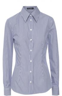 Приталенная шелковая блуза в полоску Dolce & Gabbana