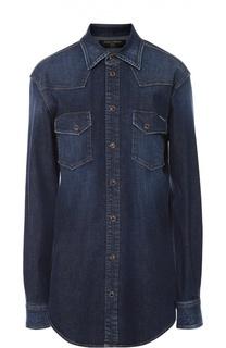Джинсовая блуза прямого кроя с накладными карманами Dolce & Gabbana