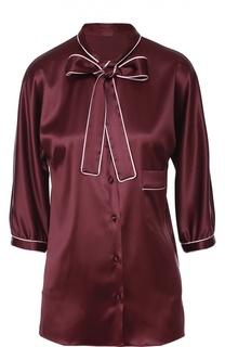Шелковая блуза с контрастной отделкой и воротником аскот Dolce & Gabbana