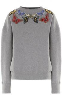 Хлопковый свитшот с вышивкой в виде бабочек Alexander McQueen