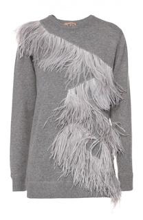 Пуловер свободного кроя с отделкой из перьев No. 21