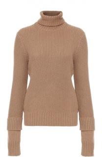 Шелковый свитер фактурной вязки с высоким воротником Michael Kors