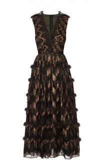 Приталенное платье с декоративной отделкой и V-образным вырезом Dolce & Gabbana