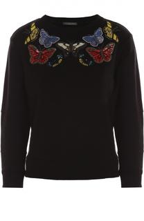 Свитшот с укороченным рукавом и вышивкой в виде бабочек Alexander McQueen