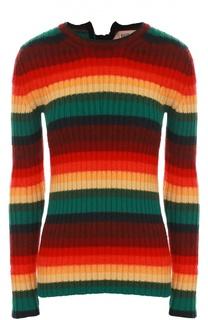 Облегающий пуловер с круглым вырезом в яркую полоску No. 21