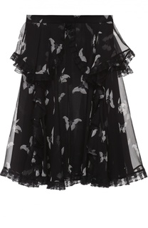 Шелковая полупрозрачная юбка с принтом в виде бабочек Alexander McQueen