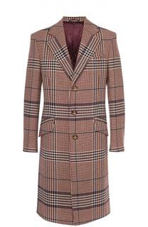 Шерстяное однобортное пальто в клетку Prince of Wales Vivienne Westwood