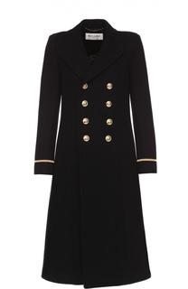 Двубортное пальто с контрастными пуговицами Saint Laurent