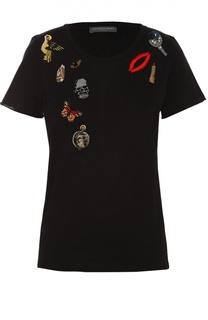 Хлопковая футболка с контрастной вышивкой Alexander McQueen