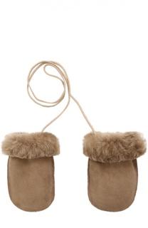 Кожаные варежки с отделкой мехом Petit Nord
