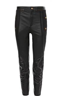 Укороченные кожаные брюки с завышенной талией и декоративной отделкой Chloé