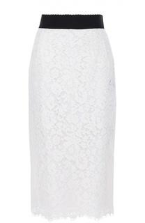 Кружевная юбка-карандаш с широким поясом Dolce & Gabbana