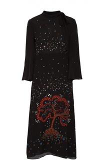 Шелковое платье с укороченным рукавом и контрастным принтом Valentino
