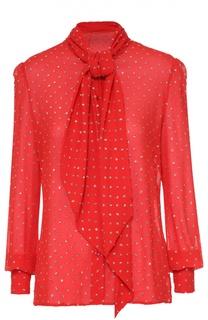 Шелковая блуза с воротником аскот и декоративной отделкой Saint Laurent