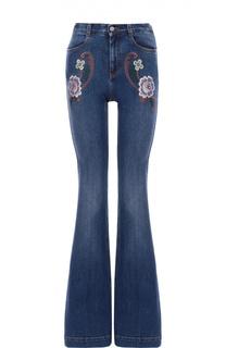 Расклешенные джинсы с контрастной вышивкой Stella McCartney