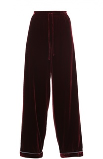 Бархатные брюки в пижамном стиле с эластичным поясом Valentino