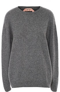 Шерстяной пуловер свободного кроя с круглым вырезом No. 21