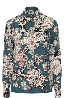 Шелковая блуза прямого кроя с контрастным цветочным принтом Valentino
