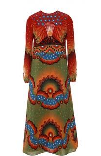 Шелковое платье с завышенной талией и ярким принтом Valentino