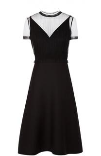 Приталенное платье с прозрачной вставкой Valentino