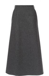 Шерстяная юбка-миди А-силуэта Saint Laurent