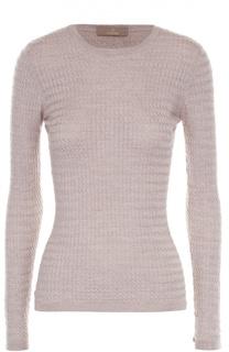 Облегающий пуловер фактурной вязки с круглым вырезом Cruciani