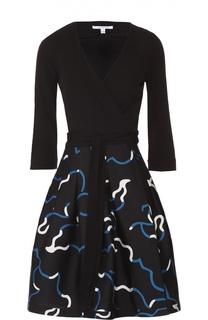 Приталенное платье с V-образным вырезом и юбкой в складку Diane Von Furstenberg