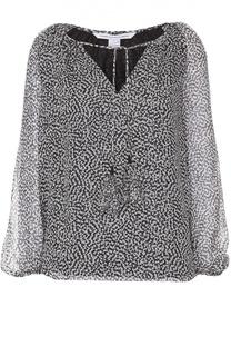Шелковая блуза на кулиске с контрастным принтом Diane Von Furstenberg