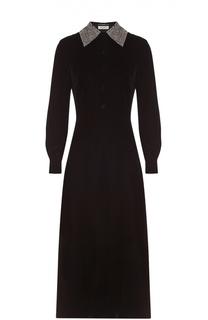 Бархатное платье-рубашка с декорированным воротником Saint Laurent