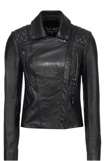 Укороченная кожаная куртка с косой молнией Armani Jeans