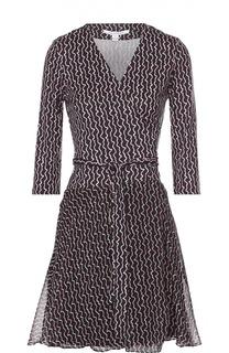 Шелковое платье с запахом и укороченным рукавом Diane Von Furstenberg