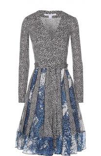 Шелковое платье с запахом и длинным рукавом Diane Von Furstenberg