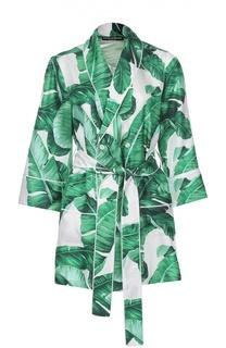 Шелковый жакет в пижамном стиле с цветочным принтом Dolce & Gabbana