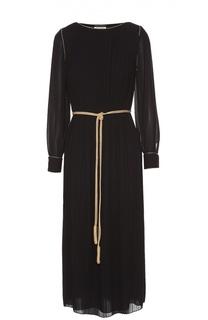 Плиссированное платье прямого кроя с контрастным поясом Saint Laurent