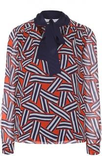 Шелковая блуза прямого кроя с воротником аскот Diane Von Furstenberg