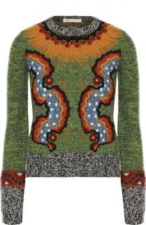 Вязаный пуловер с круглым вырезом и яркой вышивкой Valentino