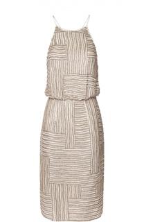 Приталенное шелковое платье на бретельках с вышивкой бисером Diane Von Furstenberg