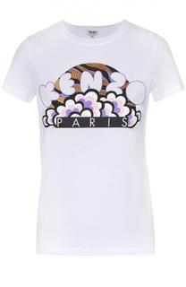 Хлопковая футболка прямого кроя с контрастной отделкой Kenzo